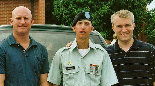 Michael after basic training with his brothers Eric and Rich